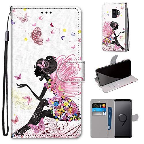 Miagon Flip PU Leder Schutzhülle für Samsung Galaxy S9,Bunt Muster Hülle Brieftasche Case Cover Ständer mit Kartenfächer Trageschlaufe,Schmetterling Mädchen