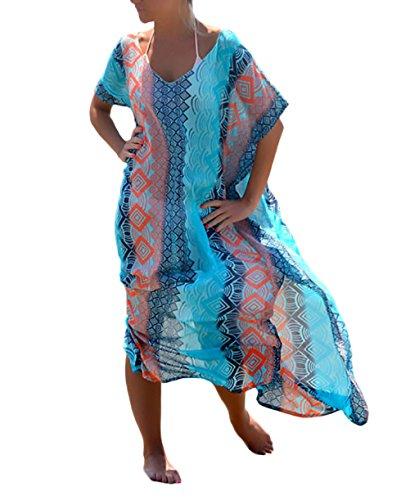 HX fashion Bikini Cover Up Damen Strandkleider Lang Retro Joker Hippie Boho Drucken Kurzarm Fledermausärmel V Ausschnitt Locker Chiffonkleid Strandtunika Sommerkleider (Color : Blau, Size : One Size)