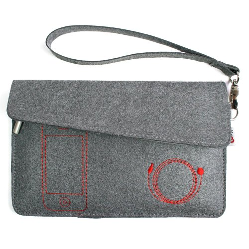 Kroo FELT Case for Playbook/Nook Color/Fits up to 7-Inch e-Reader (Smoke)