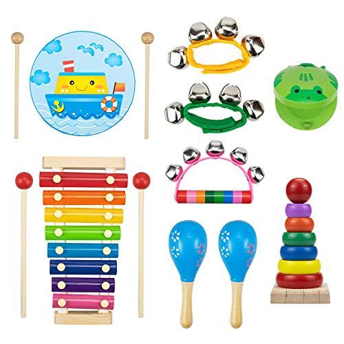 WUWEOT Strumenti Musicali per Bambini 13pcs Giocattolo in Legno Musica Strumenti Bambini Giocattoli Educativi e Regali Giochi Musicali A Percussione Giocattolos Set Ritmo di Percussioni con Zainetto