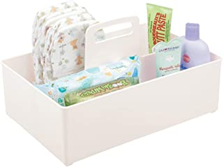 mDesign Nursery Plastic Storage Caddy Divided Bin - Utility Tote with Handle, Holds Bottles, Spoons, Bibs, Pacifiers, Diap...