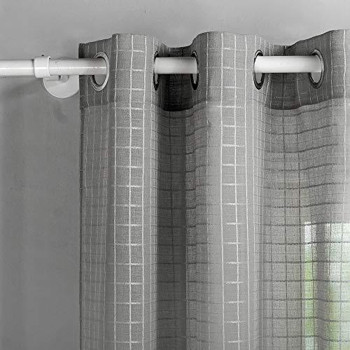 Singinglory Grau Voile Gardinen Karo 140x245cm 2er Set, Transparent Ösen Vorhänge Schals mit Raffhalter