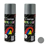 Paintusa - Pack de 2 botes de pintura en spray Plata M303 200 ml