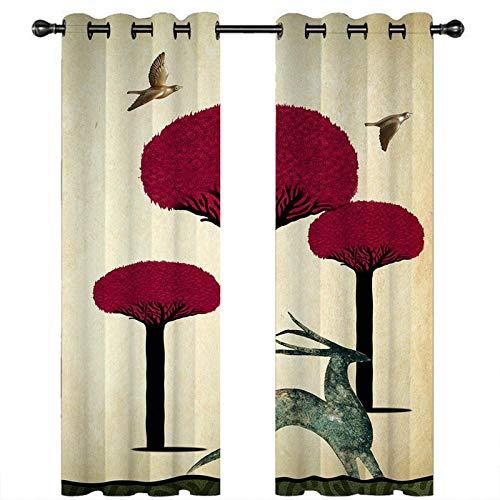 CLYDX Blickdicht Gardinen Roter Pflanzenbaum 100% Polyester Verdunkelungsvorhang Lärm Reduzieren Geeignet für Wohnzimmer Schlafzimmer Kinderzimmer 2 * 75 x 166 cm