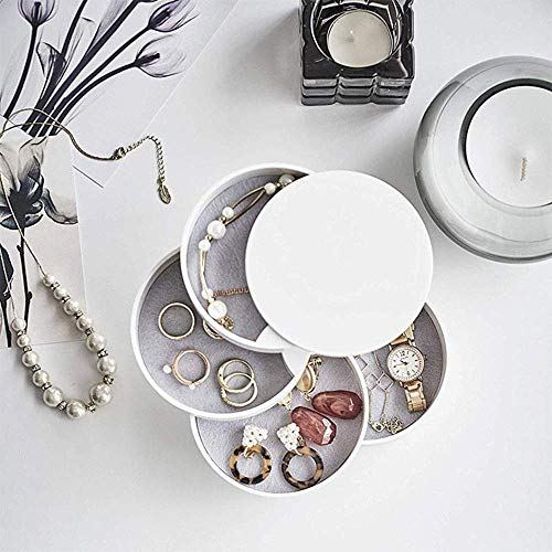 HengLiSam Jewelry Boxes Organizer Box Jewelry Storage Box 4Layer Rotatable Jewelry Accessory Storage Tray with Lid White