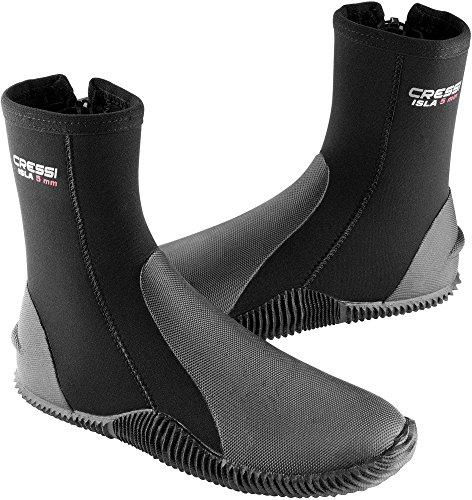 Cressi Isla Boots - Premium Neopren Füßling Für Geräteflosse - Sohle Anti-rutsch, Schwarz/Logo Rot, S - 38/39