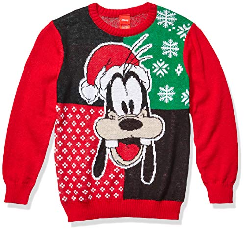 Disney Boys' Ugly Christmas Sweater, Goofy/Red, X-Large (16)