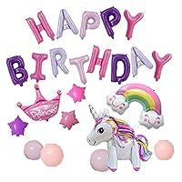 Perriberry 誕生日 飾り付け happy birthday バルーン 風船 ハッピーバースデー 男の子 女の子 (☆ユニコーン☆)