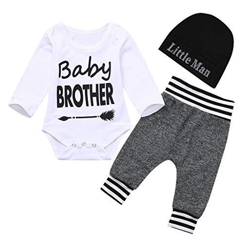 BBSMLIN Ropa Bebe Recien Nacido Niño Invierno Otoño 0 a 12 Meses 3PC/Set Monos de Baby Brother + Pantalón+ Gorro de Little Man