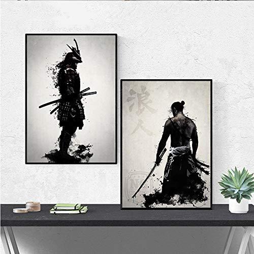 artaslf Carteles e Impresiones, Pinturas de Arte de Samurai Japón en la Pared, Cuadros de Lienzo para decoración de Sala de Estar, 40x60cmx2 sin Marco