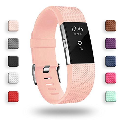 POY Replacement Bands Compatible for Fitbit Charge 2, Classic Edition Adjustable Sport Wristbands, Small Pink