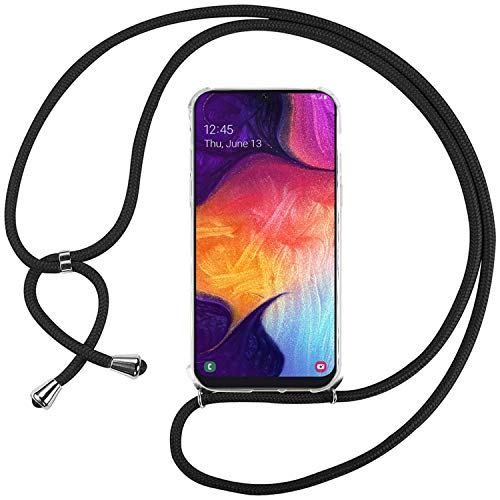 Ingen Funda con Cuerda para Samsung Galaxy A70 - Carcasa Transparente TPU Suave Silicona Case con Colgante - Negro