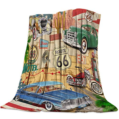 Love - Home Cozy Flannel Blanket for Couch/Bed/Office/Travel 49 x 59 Inches, Vintage Car Poster Route 66 - Luxury Soft Warm Throw Blanket for Children/Parents