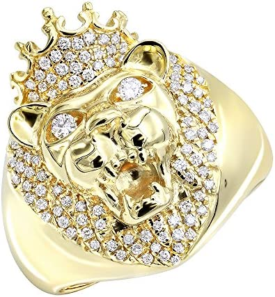 Mens Pinky Ring 14k Gold King Lion Head and Crown Diamond Band 0 5ctw Yellow Gold Size 7 5 product image