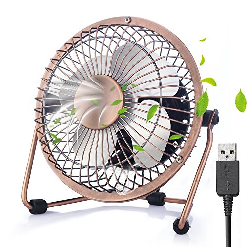 Mini USB Ventilator, iVoler 4 Zoll Aluminium Mini Tischventilator / Fan 360° Drehung Neigbar USB Ventilator Tragbarer Metall-Lüfter für PC MAC Notebook- Bronze