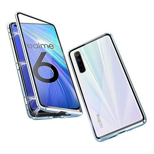 Hülle für Realme 6 Magnetische Adsorption Tech Handyhülle Vorne hinten Gehärtetes Glas Unibody Design Starke Magneten Einbaurahmen Stoßfest Metall Flip Cover, Kristallblau