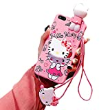 Cute Kitty iPhone 8 Plus Case/iPhone 7 Plus Case, 3D Cartoon Kawaii Case for Kids Girls, Funny Animal Character Silicone Cover Case for Apple iPhone 7 Plus, iPhone 8 Plus 5.5' with Holder Lanyard Doll