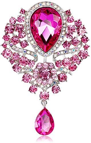 FOPUYTQABG Brosche Schmuck Brosche Frauen Mädchen Geschenkbox Exquisite Mode-Stil Retro-Stil Legierung eingelegte Strasssteine 丨 rosa Edelstein Hochzeit Braut Schmuck Chris