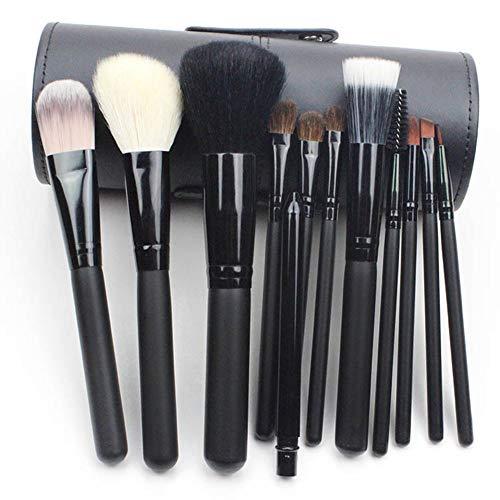 Pinceau De Maquillage Professionnel Set 12 Pcs Laine Maquillage Artiste Ombre À Paupières Fard À Joues Contour Brosse Avec Le Maquillage Seau Noir