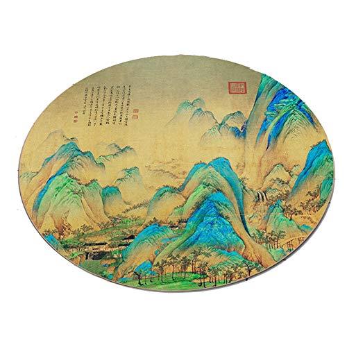 Tingting-Teppiche, Landschaft natürlich Runder chinesischer Stil Retro klassisch Wasseraufnahme Kurze Flusen (Farbe : C, größe : 80)