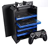 KONKY - PS4 Game Storage Tower Controller Charger, Multifunctional Detachable Playstation 4 Console Vertical Stand & CD Game Disk Holder, Blue-Ray Films Storage & PS4 Dual USB Fast Charging Dock