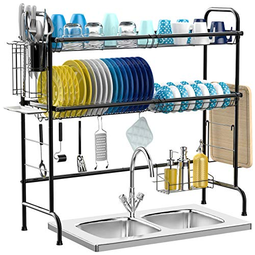Over The Sink Dish Drying Rack, iSPECLE 2-Tier Premium 201 Stainless Steel Large Dish Rack with Utensil Holder Hooks Stable Bend Foot for Kitchen Countertop Space Saver Non-Slip Black