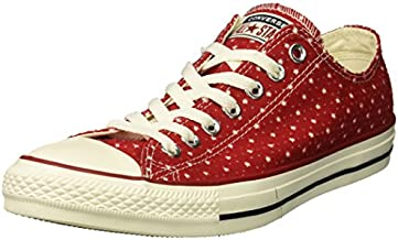 Converse Unisex Chuck Taylor Perforated Stars Low Top Sneaker, gym red/garnet/athletic navy, 4 M US Men's size / 6 M US Women's size