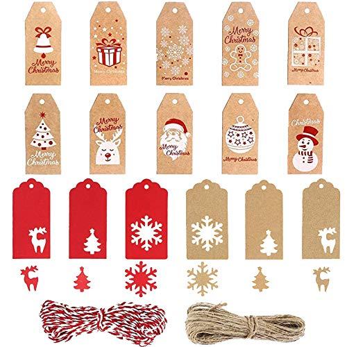 Welwoon - Etiquetas de regalo, 160 unidades, etiquetas de papel de Navidad, etiquetas de regalo Kraft, 16 estilos con una cuerda y una cuerda roja