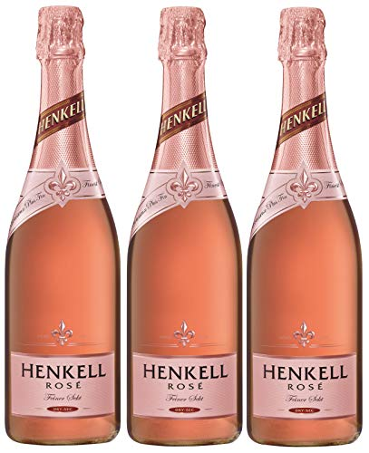 Henkell Rosé Sekt, Trocken, 12% Alkohol (3 x 0,75 l Flaschen) – Cuvée ausgesuchter roter Rebsorten hergestellt nach der Méthode Charmat