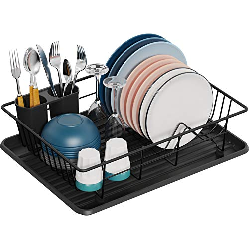 Dish Drying Rack GSlife Small Dish Rack with Tray Dish Drainer for Kitchen Countertop Black