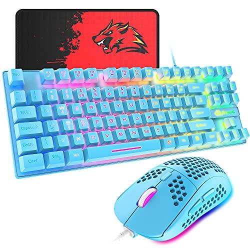 ゲーミングキーボード マウス 88キー 軽量 LEDバックライト USB接続 エルゴノミック 防水 完全なアンチゴーストボタン キーキャップ取り外し可能、ゲーマーやタイピストに最適、6400DPIゲーミングマウス マウスパット付き日本語取扱説明書付き PC PS4 スイッチ対応 (ブルー)