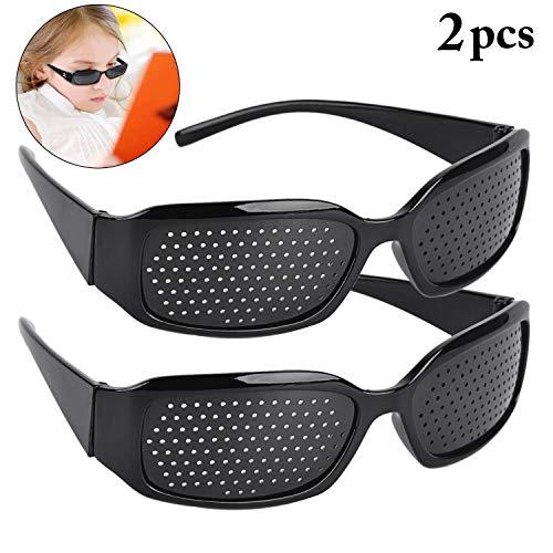 Aeightam 2 Unids Negro Gafas de Agujero de Agujero de alfiler Mejorar Gafas Gafas Cuidado de la visión Gafas de Ojo Mejorar Gafas de Ejercicio Vista de la Vista Gafas Gafas