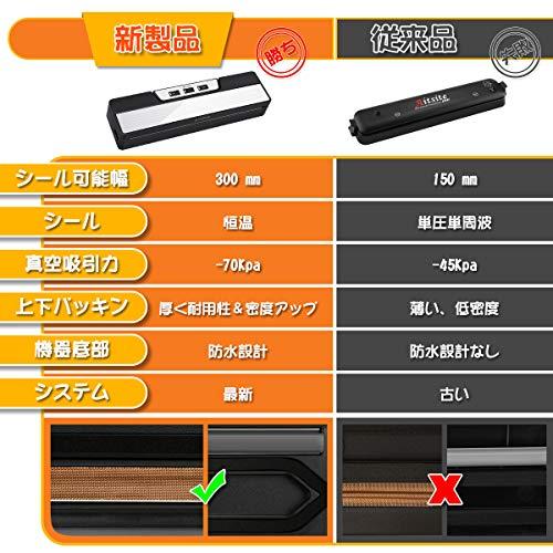 Aitsite 自動真空パック器 強力吸引力 脱気密封 吸引力-70Kpa 鮮度長持ち 乾湿対応 家庭用 ワンタッチ 操作簡単 低ノイズ 多機能業務用 PSE認証 日本語説明書付き