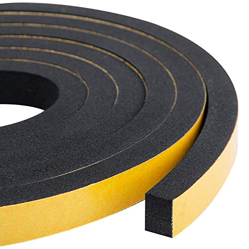 High Density Foam Tape-2 Rolls, 1/2 Inch Wide X 3/8 Inch Thick,Self Adhesive Weather Stripping Insulation Foam Neoprene Weather StrippingTotal 13 Feet Long(6.5ft x 2 Rolls)