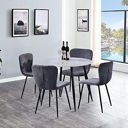 GOLDFAN Dining Table and 4 Chairs Mordern Design Round Dining Table Fabric Kitchen Chairs for Dining Room Living Room Office (Gray)