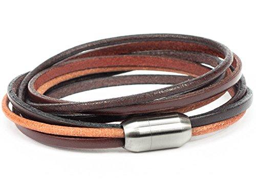SIMARU Designer Lederarmband – Wickelarmband für Herren & Damen aus pflanzlich gegerbtem Leder mit Edelstahl Magnet Verschluss – Made in Germany (braun (Größe M))