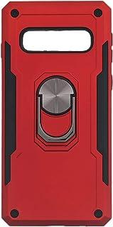 جراب خلفى قوى آيرون مان بحلقة معدنية ومسند لسامسونج جلاكسي S10 - احمر اسود
