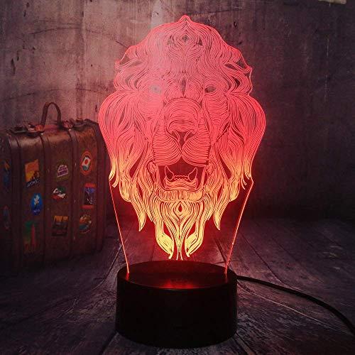 Animal Lion 3D Lámpara de ilusión LED Luz nocturna Mesita de noche óptica Luces nocturnas 16 Cambio de color Botón táctil Decoración Lámparas de escritorio,