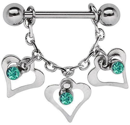 Brust Piercing, Brustwarzenpiercing, Gliederkette mit 3 Herzen und Steinen in grün-türkis + Stahlstab 1,6 x 12 mm mit Kugeln