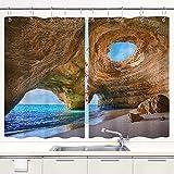 TISAGUER Cortina de Cocina,Cuevas del Algarve Portugal Playa pequeña Cuevas Grandes,Cortinas de Bistro para Cortinas Opacas con Aislamiento térmico