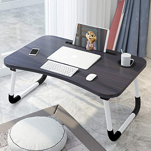 NARGO Presents Foldable Laptop Table with Cup Holder, Study Table, Bed Table, Breakfast Table, Foldable & Portable (Wood) (Black)