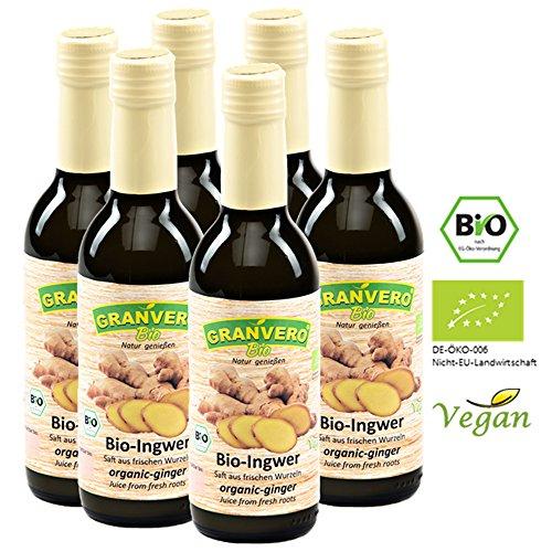 GRANVERO, Bio Ingwer Saft, 99 % Ingwer, 250 ml 6 Flaschen,