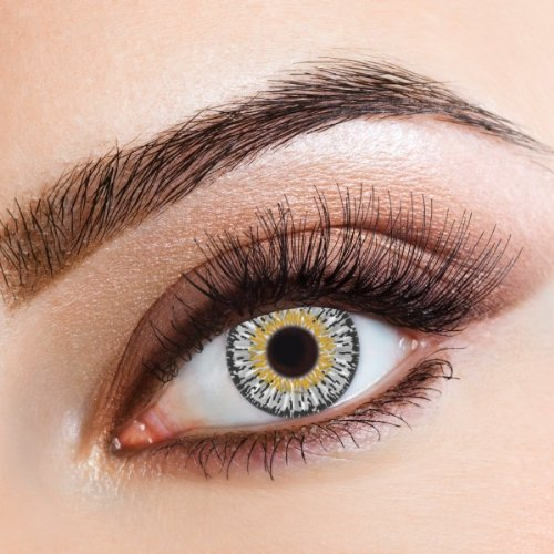 aricona Kontaktlinsen Farblinsen farbig graue Kontaktlinsen – natürlich bunte farbige Jahreslinsen für den Alltag, 12-Monats Linsen für helle Augenfarben