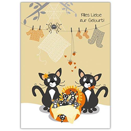 Wacht je: alles liefde voor de geboorte! Met deze schattige kattenfamilie • ook direct verzending met hun tekst inlegger • mooie groet vouwkaart met envelop binnen blanco voor lieve woorden