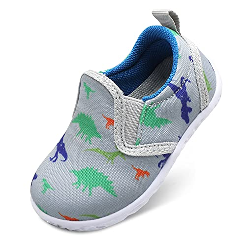 FEETCITY Unisex Baby Boys Girls Shoes Toddler Casual Sneakers Slip on Shoes First Walkers Shoes 18-24 Months Infant Dinosaur Grey