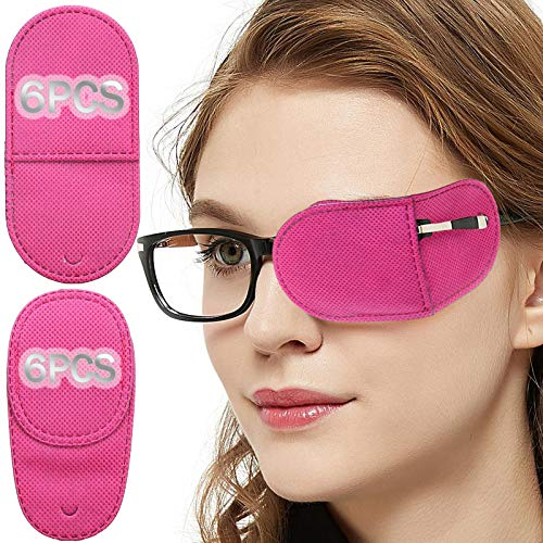 Eye Patches for Adults Kids - VEEJION 12 Piece Eye Patch for Glasses Treat Lazy Eye Amblyopia Strabismus for Left or Right Eyes (Pink)