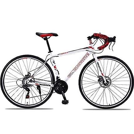 H-LML Carreras de Bicicleta de Carretera 27/30 de Velocidad Manija Recta Frenos de Disco Doble de Carretera Hombres y Mujeres Bicicleta de Ciudad,Red,30