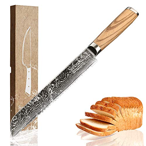 Best Quality Kitchen Knives 8 inches Bread Slicer Knife 73 Layers Damascus Steel Sharp Blade Original Wood Handle Japanese VG 10 Cooking Tools