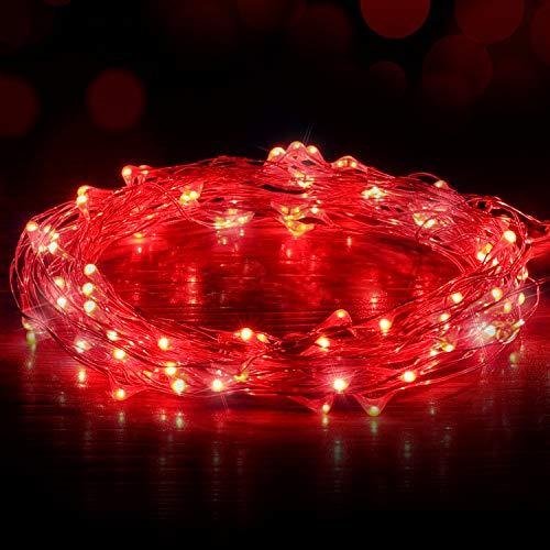 USB Lichterkette, Ariceleo 5M/16Ft 50 Leds Nachtlicht, Lichtervorhang Rot GlüHwüRmchen Lichterketten FüR Weihnachten, Party, Schlafzimmer, Hochzeit, Innen/AußEnbereich (Usb-Anschluss)