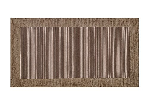 BIANCHERIAWEB Tappeto Passatoia Runner Cucina Antiscivolo Antimacchia Lavabile Stripes Suardi 55x80 Marrone